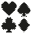 Set of playing card four symbols on white vector image
