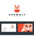 Triangle polygonal logo with wolf sign and vector image vector image