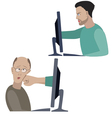 Man fights with another one through the internet vector image