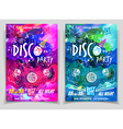 Disco music night party flyer set vector image