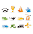 simple transportation and travel icons vector image