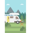 Background of motorhome in the forest vector image