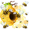 Bees flying around the beehive vector image