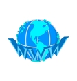 Earth globe internet icon cartoon style vector image