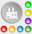factory icon sign Symbol on eight flat buttons vector image