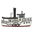 Funny old white paddle steamboat vector image
