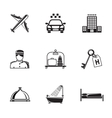 Hotel and service monochrome black icons set with vector image