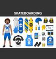 skateboarding sport equipment skateboarder garment vector image