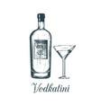 hand sketched vodka bottle and vodkatini glass vector image