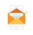 email notification mobile phone envelope with new vector image