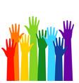 colored volunteer crowd hands vector image