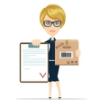 Pretty delivery woman with parcel and receiving vector image