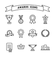 Set of trophy and awards line icons vector image