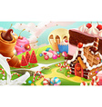 Sweet landscape background vector image
