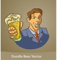 doodle man with a beer isolated on brown vector image
