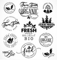 farm freshorganic and bio food labels and badges vector image