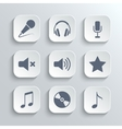 Media icons set - white app buttons vector image