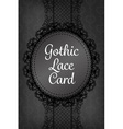 Stylish dark black gothic lace with round frame vector image