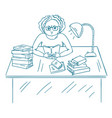 young angry student studying with books bored vector image