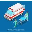 Isometric Ambulance Service with Emergency Car vector image
