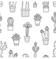 Seamless pattern of lovely green cacti and vector