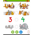 cartoon greater less or equal worksheet vector image vector image