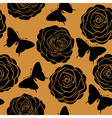 seamless pattern roses and silhouettes butterflie vector image vector image