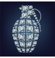 Hand grenade made up a lot of diamonds vector image