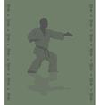Hieroglyph of karate and man demonstrating karate vector image