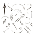 Arrows and lines hand drawn set isolated on gray vector image