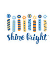 shine bright hanukkah greeting card vector image