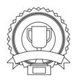 trophy badge banner ribbon decoration vector image