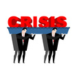 Funeral crisis Word carried in coffin Businessmen vector image