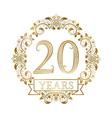 Golden emblem of twentieth years anniversary in vector image