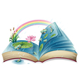 A book with an image of a pond vector image