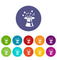 magic hat with stars set icons vector image
