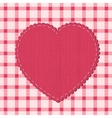 Checkered background with textile heart label vector image vector image