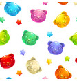 seamless pattern with cute gummy bears vector image
