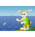 Rabbit fisherman fishes in the sea vector image vector image