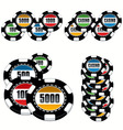 casino chips set vector image vector image
