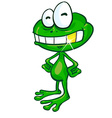 fun frog cartoon with gold tooth vector image vector image
