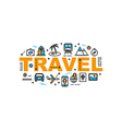Travel and vacation thin line flat style banner vector image