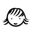 face girl drawn isolated icon design vector image