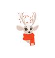 flat christmas reindeer in red scarf head vector image