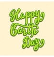 Happy Earth Day card hand lettering vector image