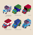 isometric 3d cargo trucks with vector image