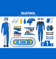 skating sport equipment skater racer clothing vector image