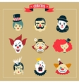 Vintage Circus freak show icons and hipster vector image