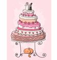 wedding cake cartoon vector image