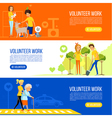 Volunteer people colored flat banner collection vector image